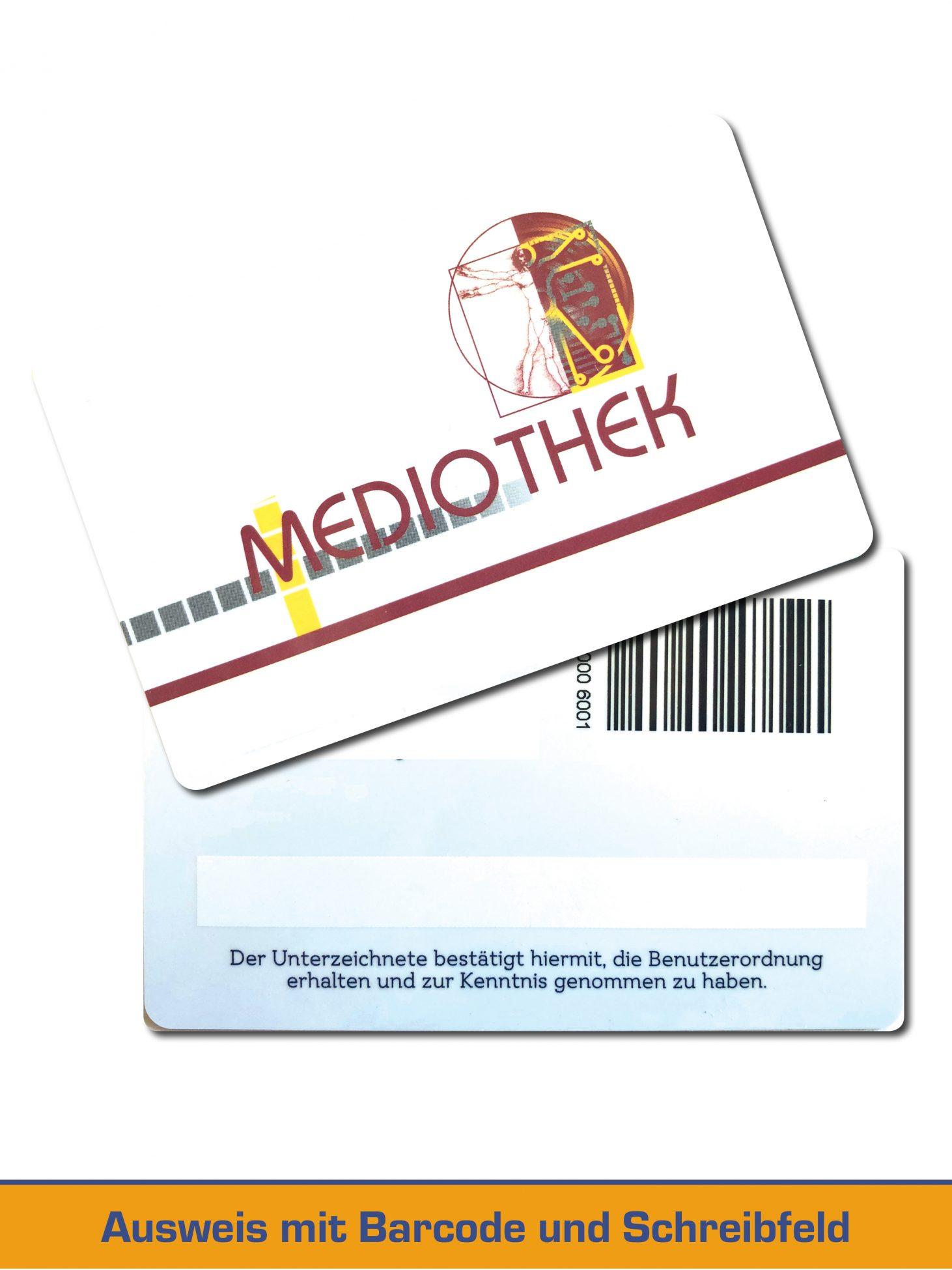Bibliotheksausweis mit Barcode und Schreibfeld