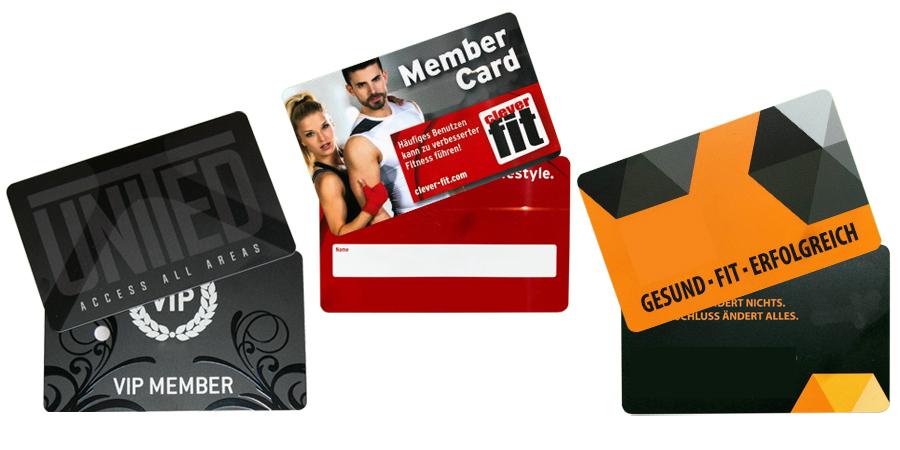 Auswahl an Mitgliedskarten für Fitnessstudios